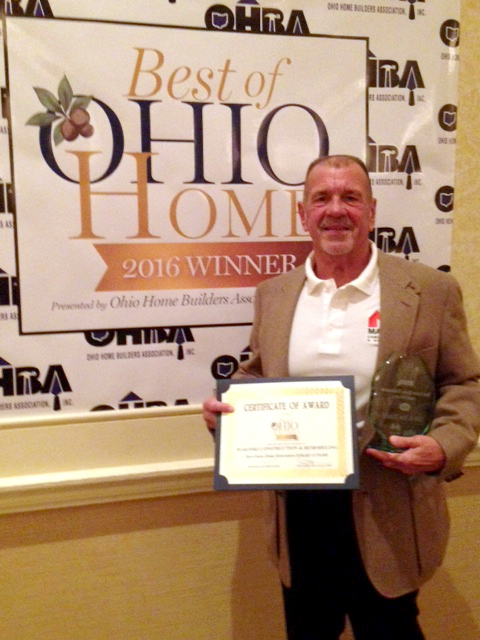 Frank Makoski Winning his award at Ohio Home Builders Association